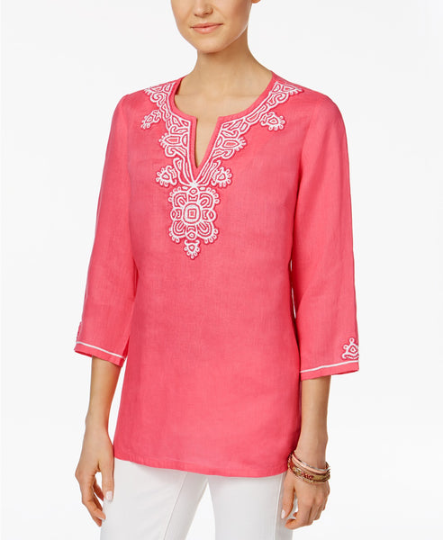 Charter Club Embroidered Tunic Glamour Pink XL