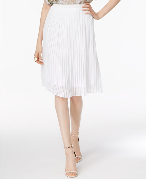 Olivia Grace Pleated A-Line Skirt Bright White L