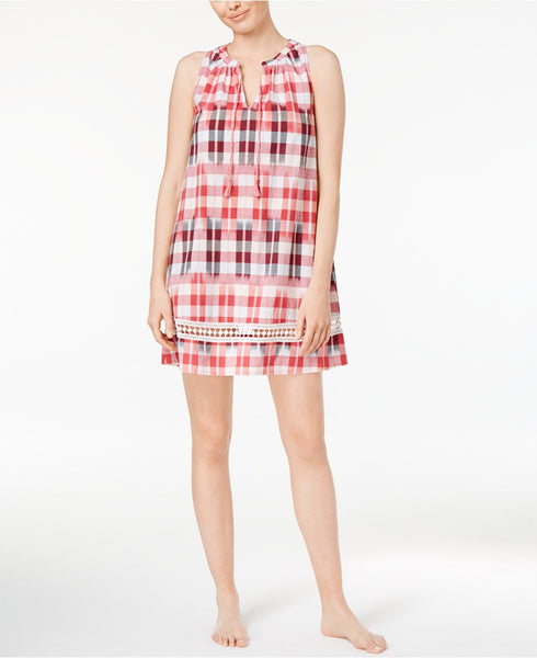 Lucky Brand Crochet-Trimmed Printed Cotton Plaid S