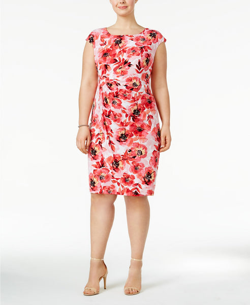 Connected Plus Size Floral-Print Faux-Wr Pinkcoral Multi 22W