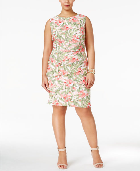 Connected Plus Size Floral Tiered Sheath Pink Multi 14W