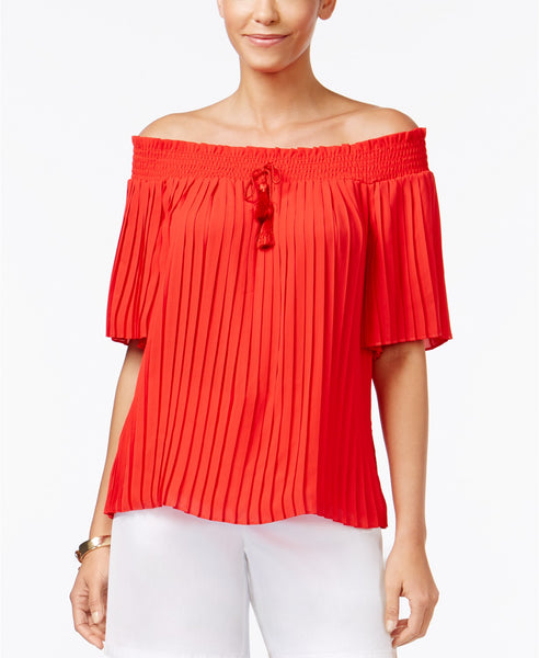 Thalia Sodi Pleated Off-The-Shoulder Top Risky Red L