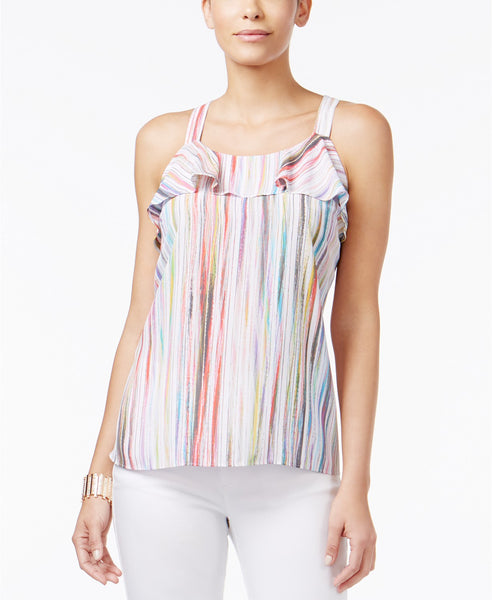 Thalia Sodi Striped Cutaway-Back Tank Top Bright White Combo M