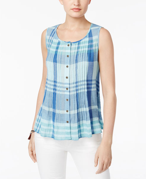 Style Co Cotton Plaid Sleeveless Shirt Peppy Check Aqua S