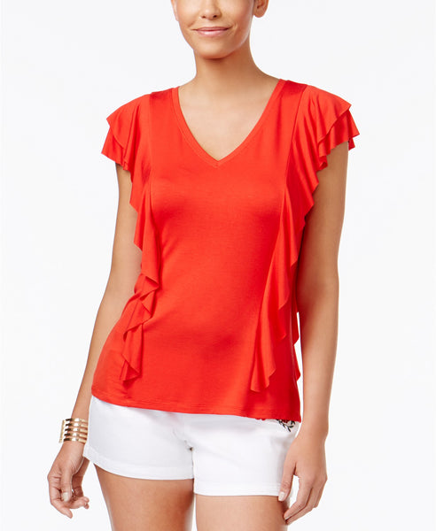Thalia Sodi Ruffled Top Risky Red L