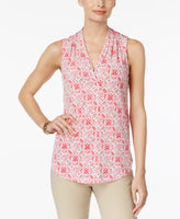 Charter Club V-Neck Floral-Print Top Bright White Combo XXL