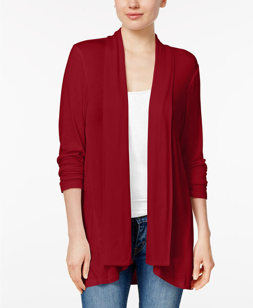 Style Co Drape-Front High-Low-Hem Cardi Crushed Petal L