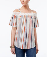 Style Co Striped Off-The-Shoulder Top Party Stripe White M