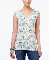 Style Co Lace-Trim Tie-Neck Top Pineapple Toss XL