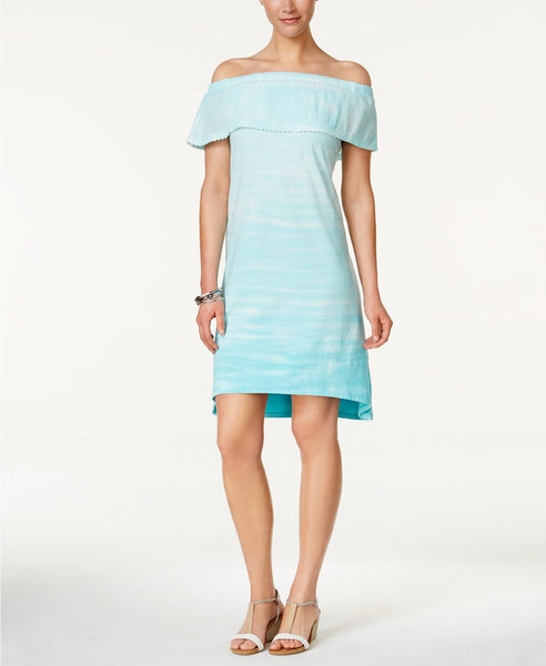 Style Co Tie-Dyed Ruffled Dress Tie Dye Aqua M