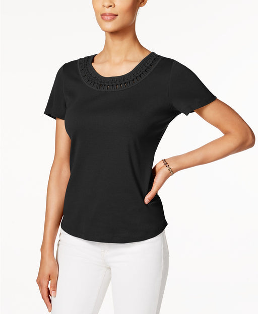 Karen Scott Cotton Braided-Trim Top Deep Black L