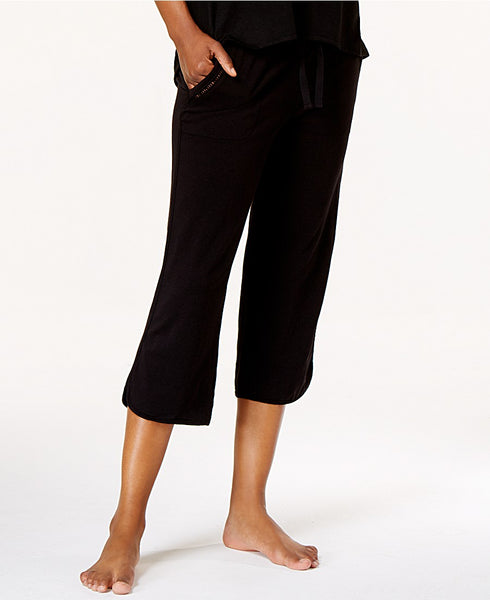 Alfani Knit Cropped Pajama Pants Classic Black S