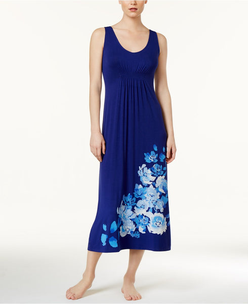 Alfani Floral-Print Knit Nightgown Royal Ink S