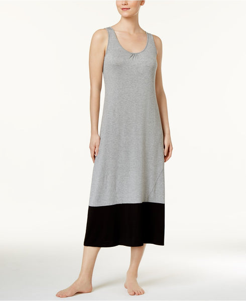Alfani Colorblocked Knit Nightgown Pebble Heather XS