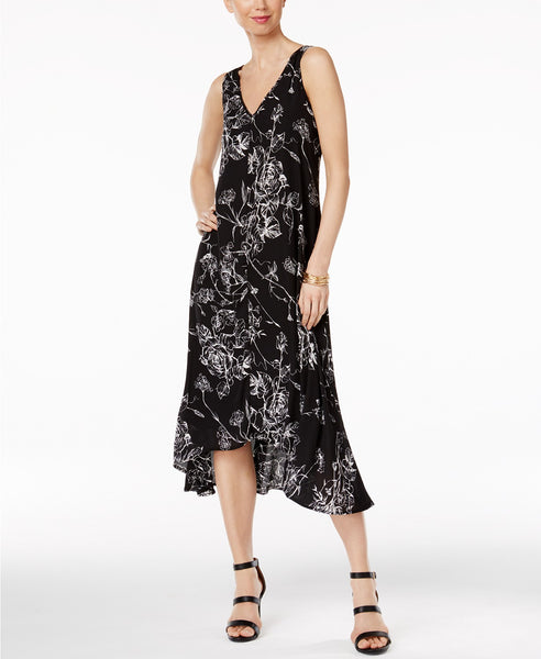 Olivia Grace Printed High-Low Midi Dress BlackWhite Etched Floral XS