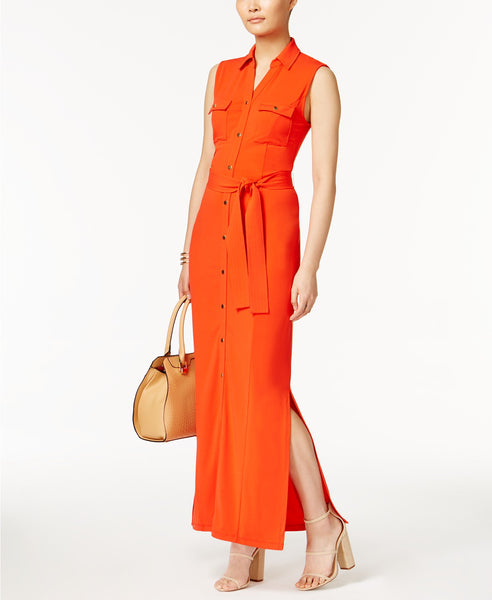 Olivia Grace Belted Maxi Shirtdress Fiery Red M