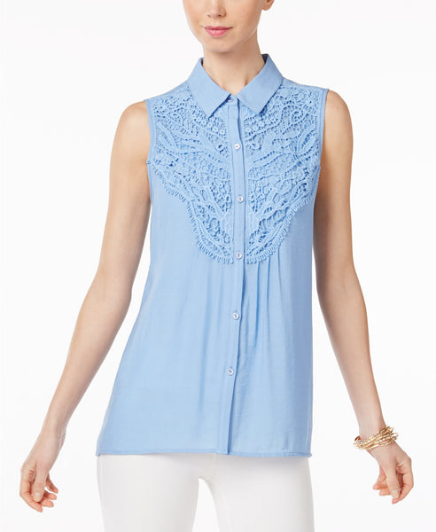 NY Collection Sleeveless Lace-Trim Blouse White M