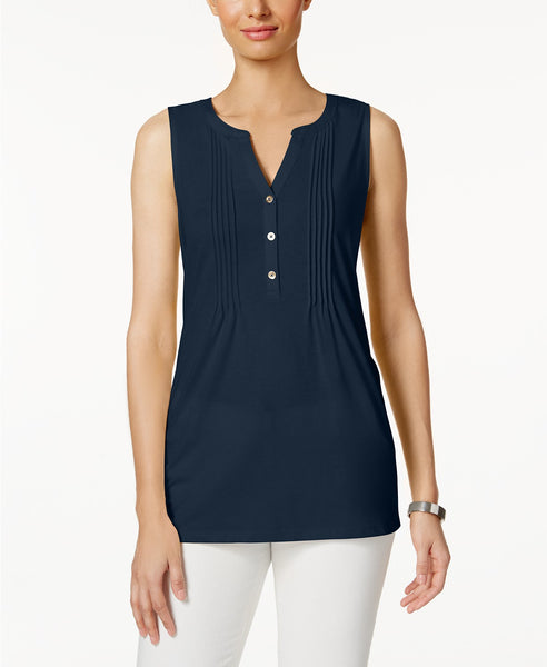 Charter Club Pleated Y-Neck Top Intrepid Blue XXL