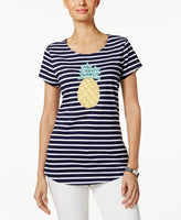 Charter Club Striped Embroidered Top Intrepid Blue Combo M