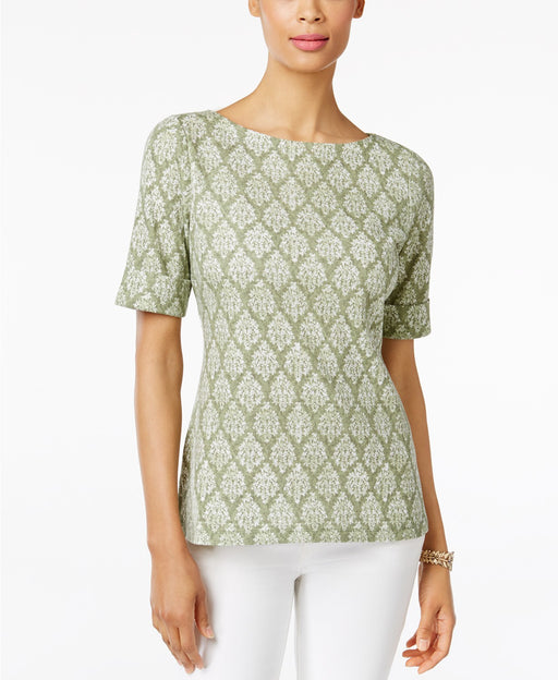Karen Scott Printed Boat-Neck Top Olive Vine XS