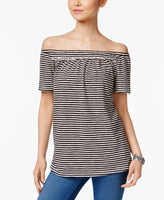 Style Co Striped Off-The-Shoulder Top Deep Black L