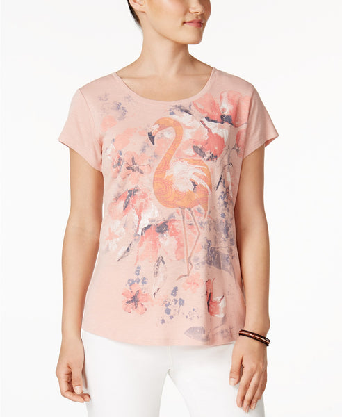 Style Co Flamingo-Graphic T-Shirt Dusty Peach S