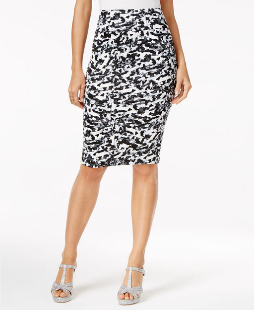 Thalia Sodi Animal-Print Scuba Pencil Skir Camo Deep Black Combo XXL