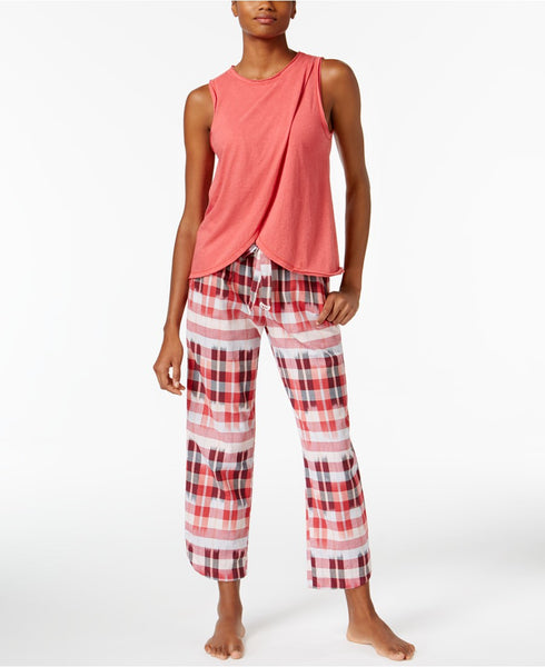 Lucky Brand Overlapped Top Printed Cotto Red Plaid L