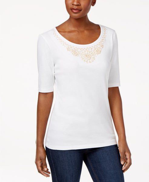 Karen Scott Cotton Beaded-Neck Top Bright White S
