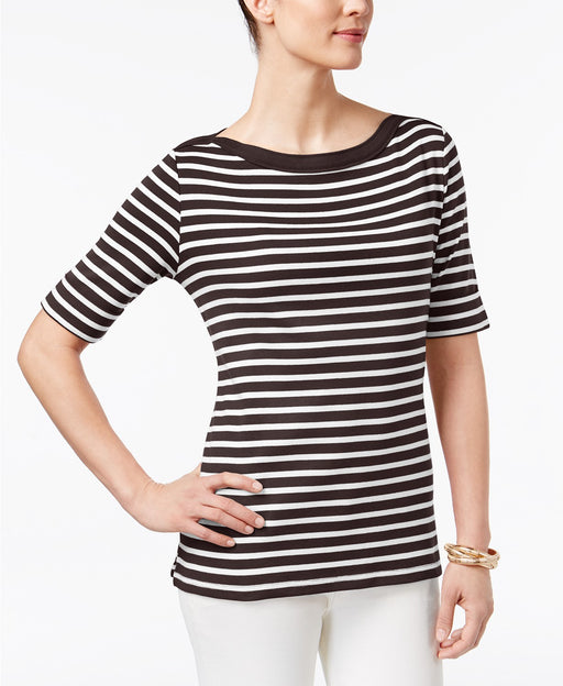 Karen Scott Striped Elbow-Sleeve Top Chocolate M