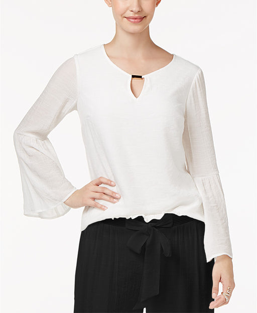 Thalia Sodi Bell-Sleeve Top Washed White L