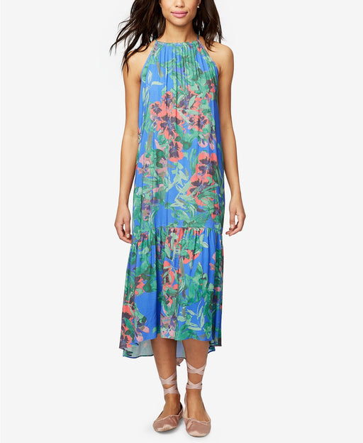RACHEL Rachel Roy High-Low Floral-Print Dress Bright Blue Combo M