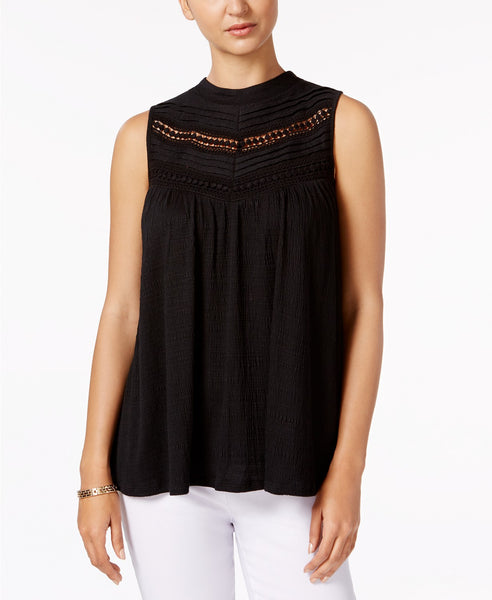 Cable Gauge Lace-Trim Top Black S