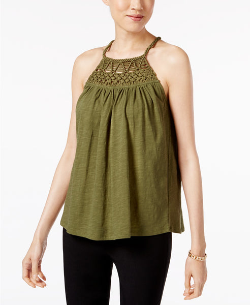 Cable Gauge Cotton Halter Top Winter Moss S
