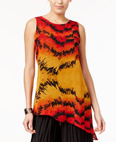 Joseph A Asymmetrical Top Red Feather Frenzy M