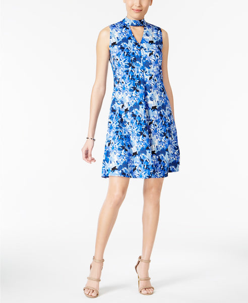 NY Collection Mock-Neck Fit Flare Dress Blue Floral L