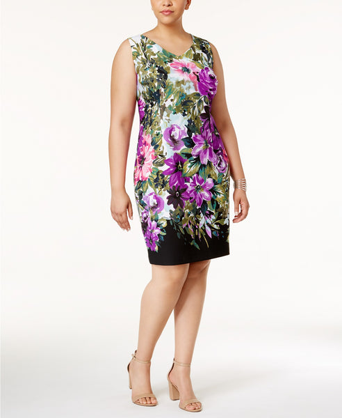 Connected Plus Size Printed Floral Sheat Purple 20W