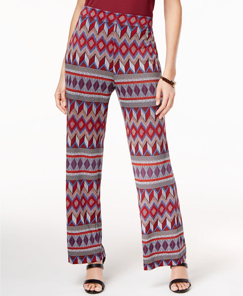 NY Collection Printed Soft Pants Medium Red Multi L