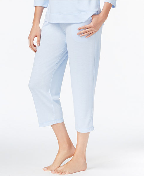 Charter Club Knit Cropped Pajama Pants, Cre Blue Alder M