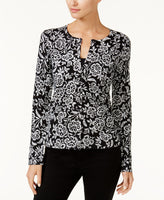 August Silk Printed Cardigan BlackWhite Honeycomb M