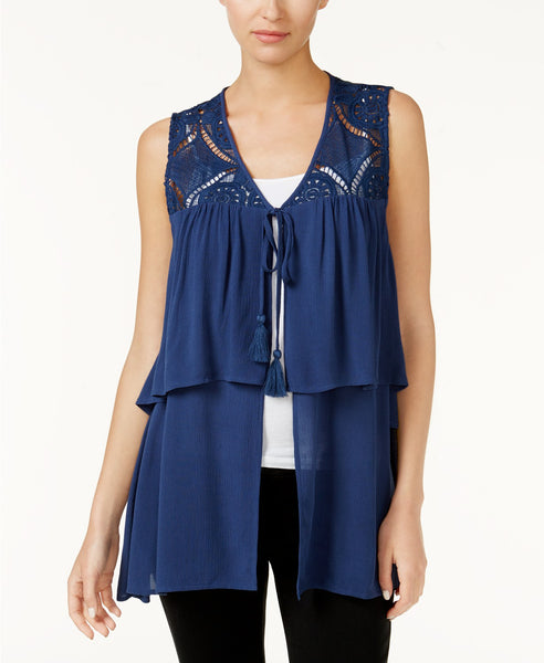 August Silk Tiered Crochet-Contrast Vest Indigo Denim XL