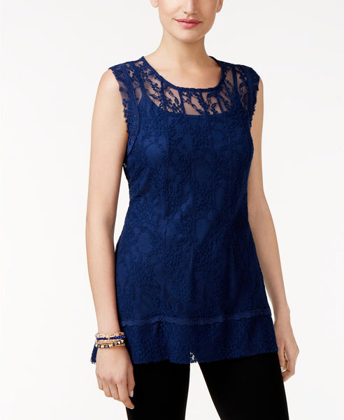 Style Co Sleeveless Lace Tunic Orchard Vine S