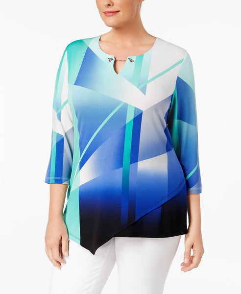 JM Collection Plus Size Printed Asymmetrical Beauty Beam 1X