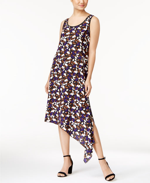 Anne Klein Printed Asymmetrical Dress Black Violet Combo M