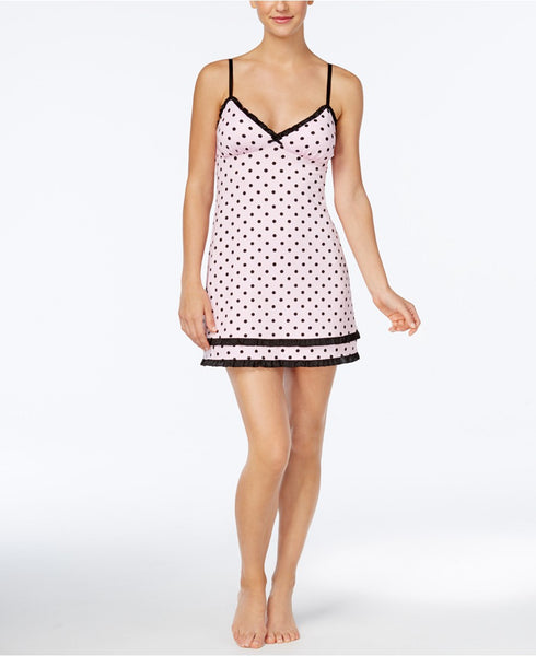 Jenni Ruffle-Trimmed Knit Chemise Light Pink Dots L