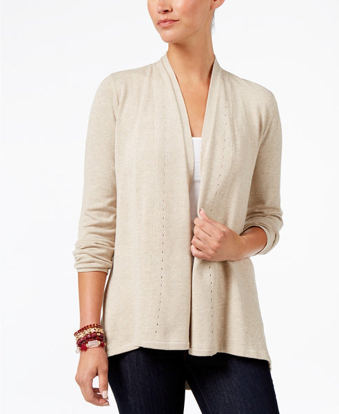 Style Co Long-Sleeve Pleat-Detail Cardi Hammock Heather XXL