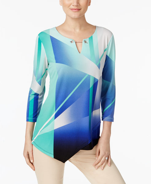 JM Collection Embellished Asymmetrical Top Beauty Beam L
