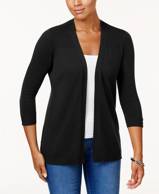 KAREN SCOTT 3/4 Sleeve Ribbed Yoke Cardigan BLACK XL