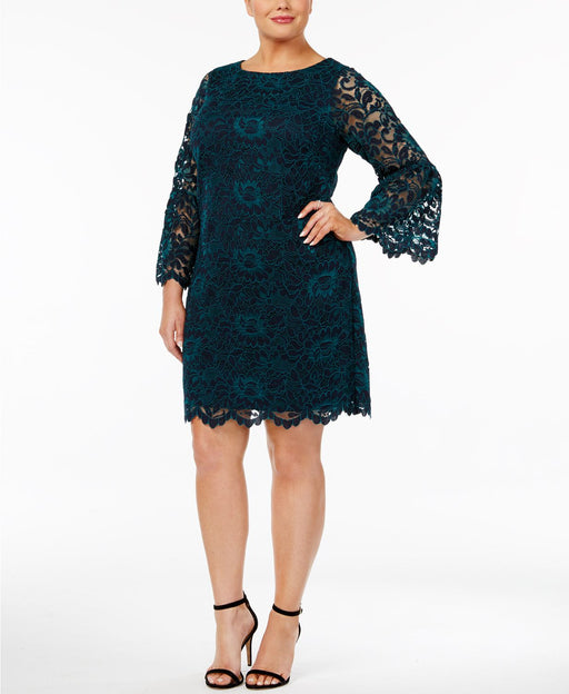 Jessica Howard Plus Size Bell-Sleeve Lace Dre NavyGreen 24W