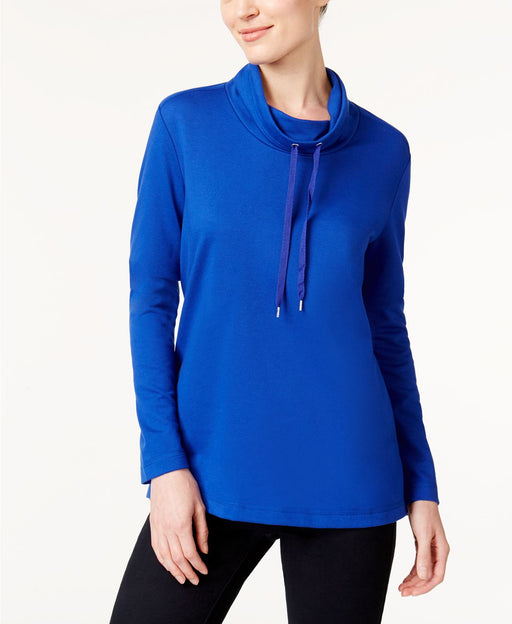 Karen Scott Funnel-Neck Active Sweatshirt Bright Blue XS